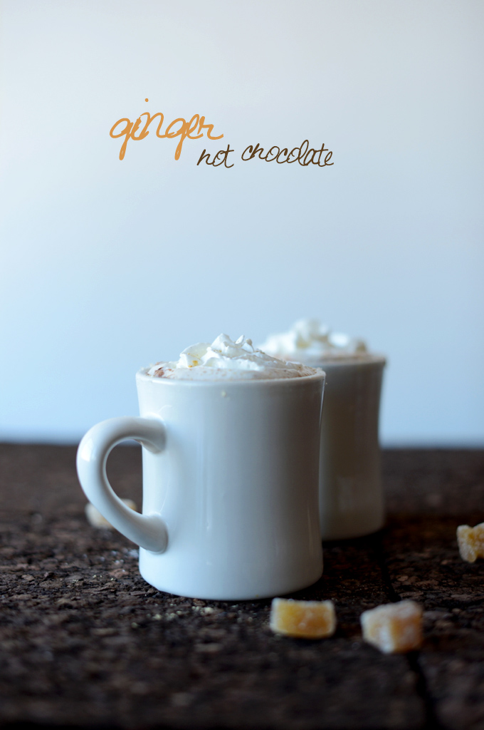Mugs of Ginger Hot Chocolate for a warming winter beverage