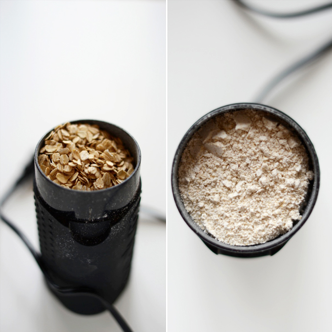 Coffee grinder filled with oats to show how to make oat flour