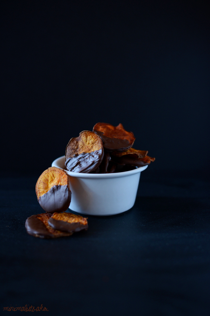 Bowl of homemade Dark Chocolate Dipped Sweet Potato Chips