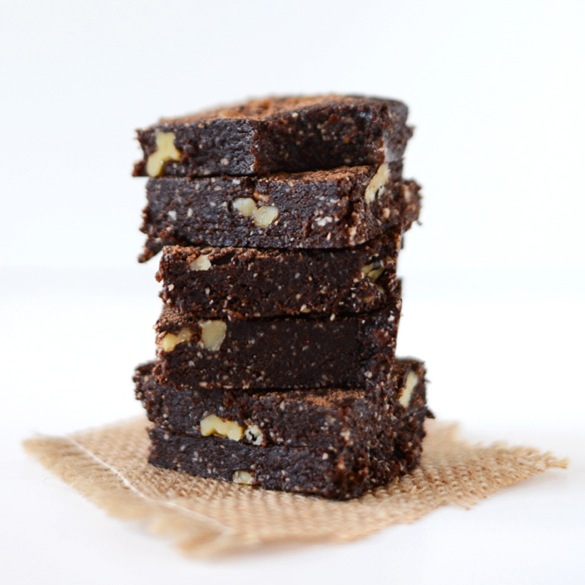 Tall stack of Vegan Espresso Walnut Brownies