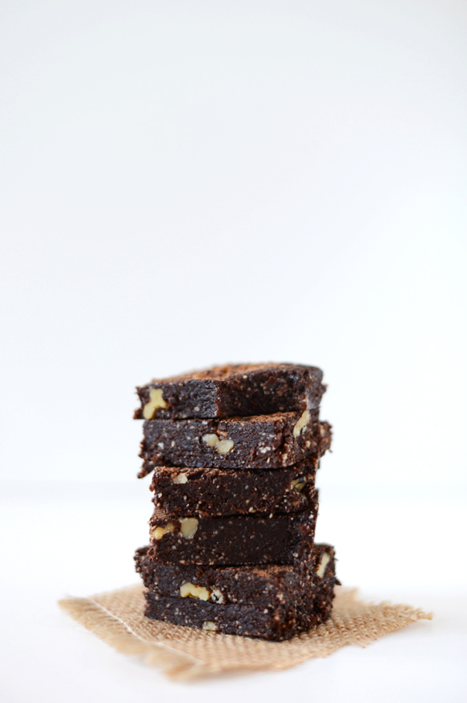 Stack of homemade Raw Brownies