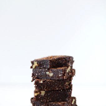 Stack of our delicious 5-Minute Espresso Walnut Brownies recipe
