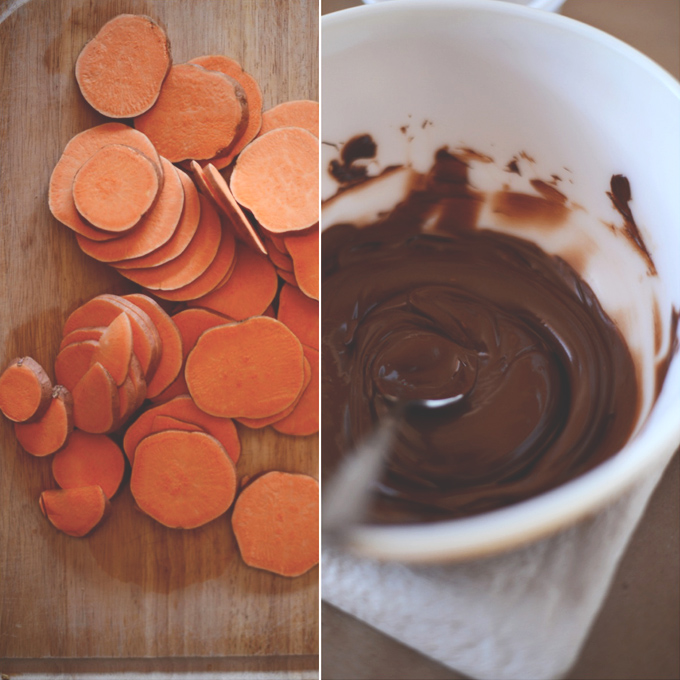 Sliced sweet potato and melted chocolate for making a simple and healthy dessert