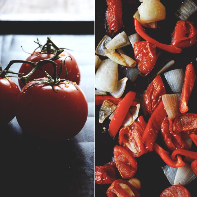 Fresh tomatoes and roasted vegetables for making homemade soup