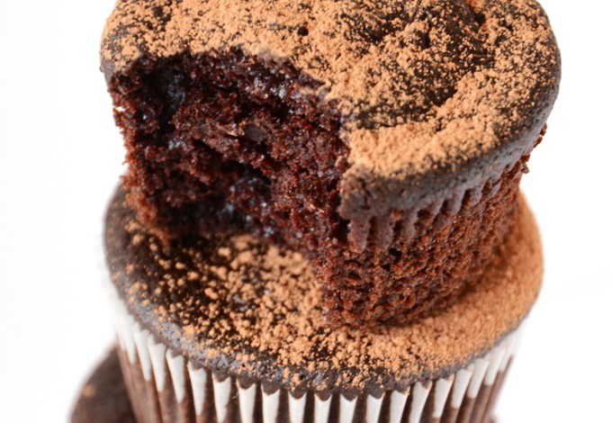 Revealing the fudgy texture of our Vegan Beet Cupcakes