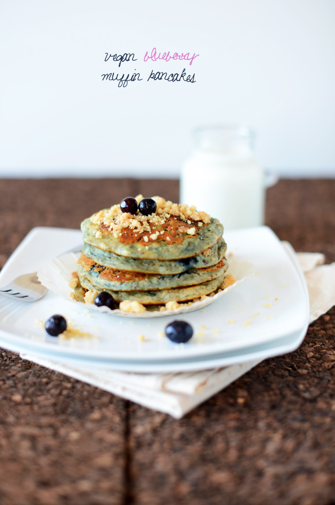 Stack of our Blueberry Muffin Pancakes recipe for a delicious vegan breakfast