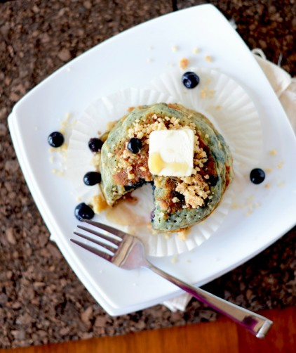 Plate with a batch of our delicious Vegan Blueberry Muffin Pancakes recipe