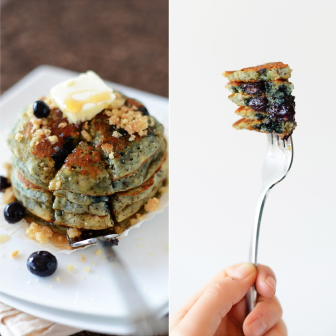 Grabbing a bite of Vegan Blueberry Muffin Pancakes on a fork