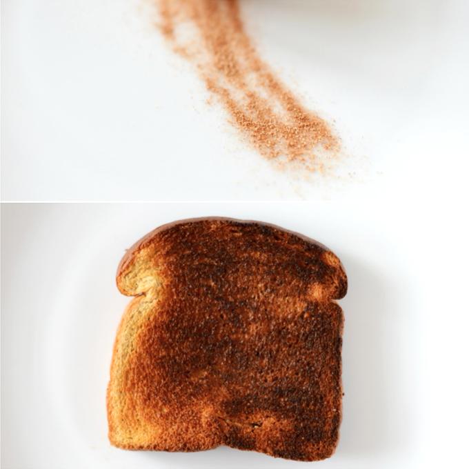 Plates of cinnamon sugar and toast for making Vegan Cinnamon Toast Ice Cream