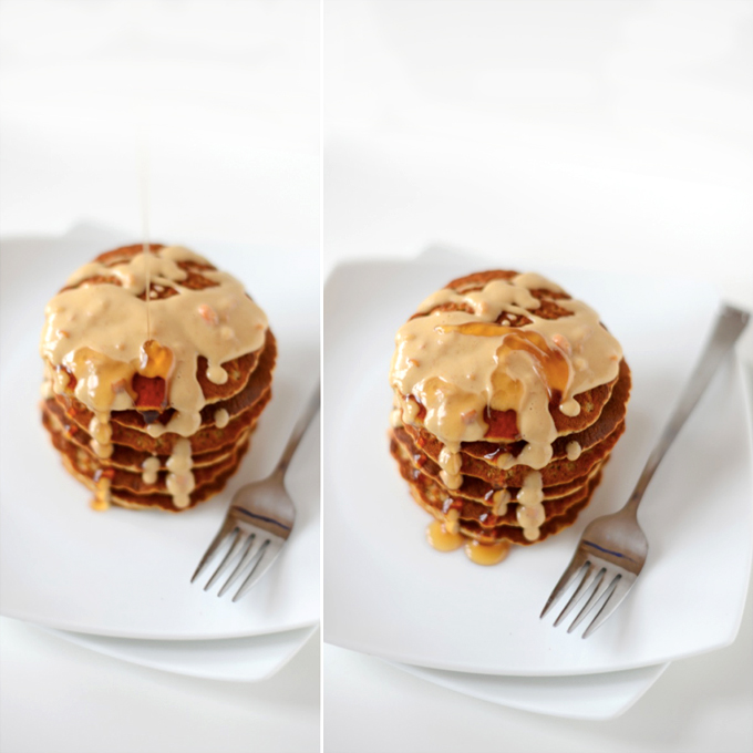 Drizzling syrup onto a stack of Vegan Peanut Butter Pancakes