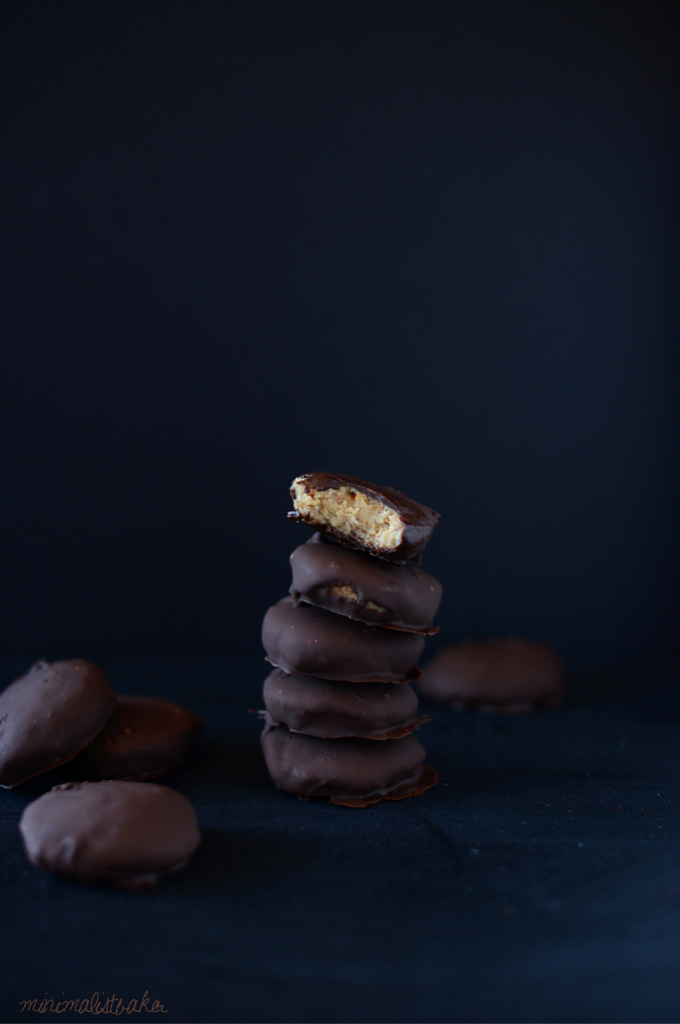 Stack of Vegan Peanut Butter Patties on a dark background