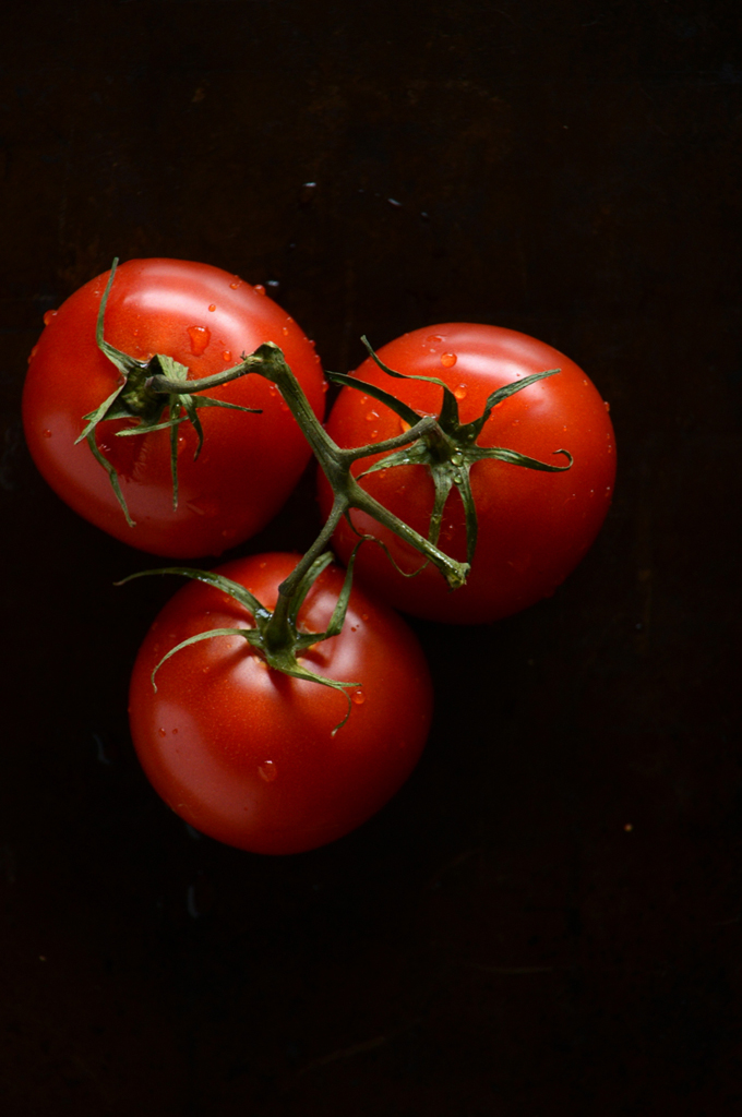 Three on-the-vine tomatoes for making soup