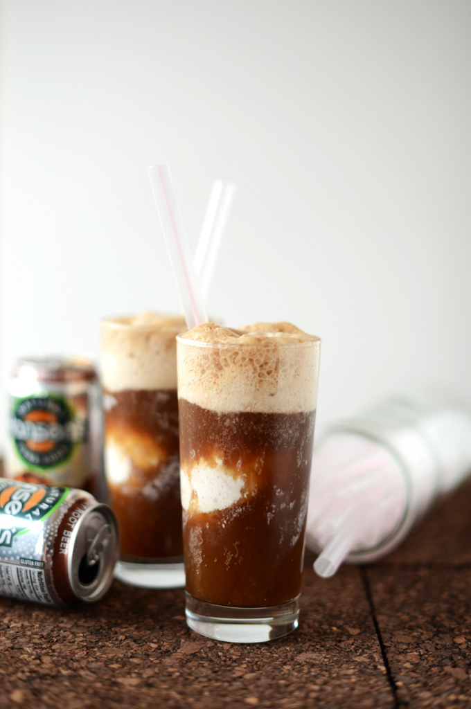 Glasses of our Vodka & Coconut Ice Cream Root Beer Floats recipe