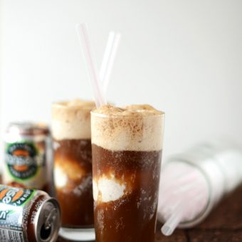 Two glasses of Vodka Root Beer Floats made with natural root beer