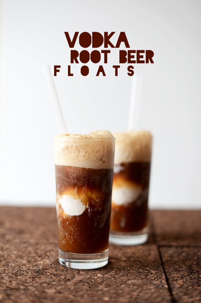 Two glasses of our Vodka Root Beer Floats recipe