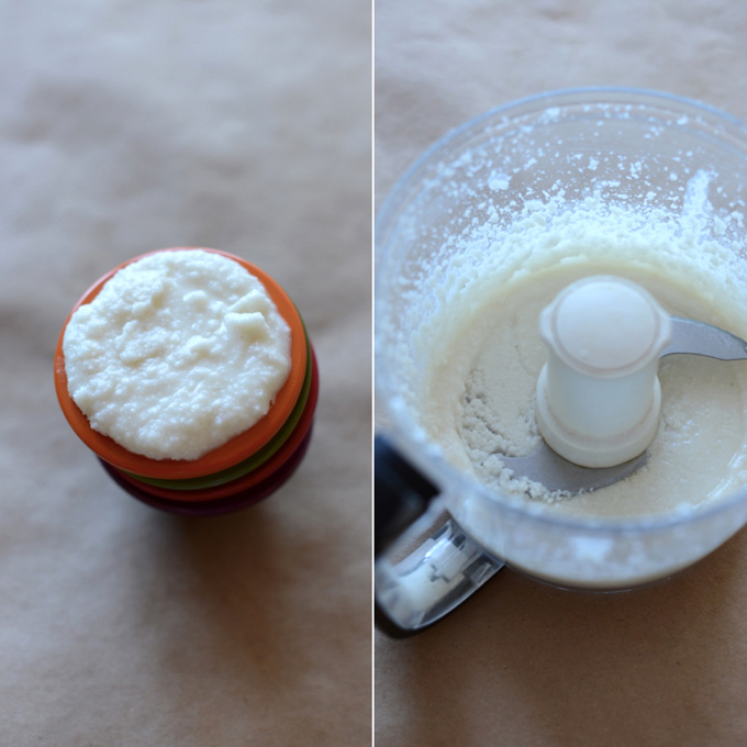 Food processor and bowl of coconut butter for making a delicious Nut Butter Spread recipe