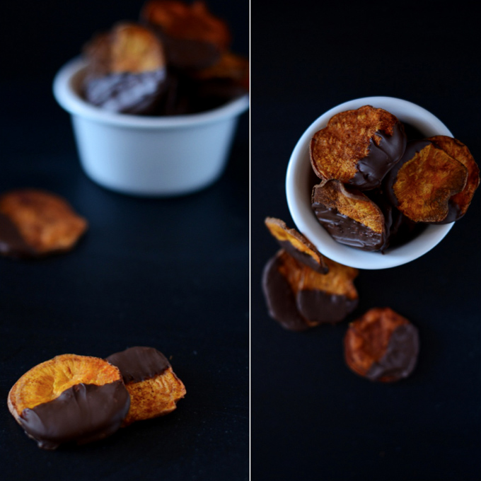 Bowls of Dark Chocolate Baked Sweet Potato Chips for a healthy movie night snack