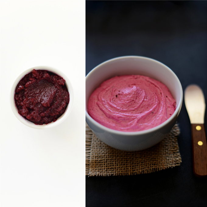 Beet puree and bowl of Beet Buttercream Frosting