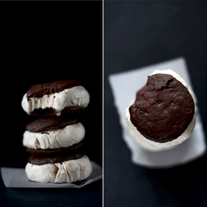 Stack of homemade ice cream sandwiches made with Coconut Coffee Ice Cream