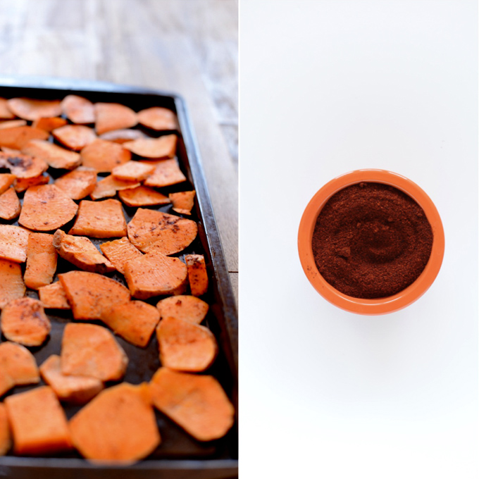 Baking sheet with sweet potatoes coated in chipotle seasoning