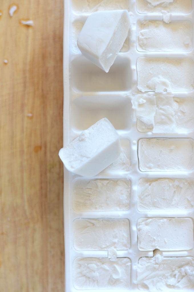 Tray of coconut milk ice cubes for making a homemade vegan frappuccino