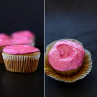 Side and top view of a Strawberry Cupcake made with beet frosting