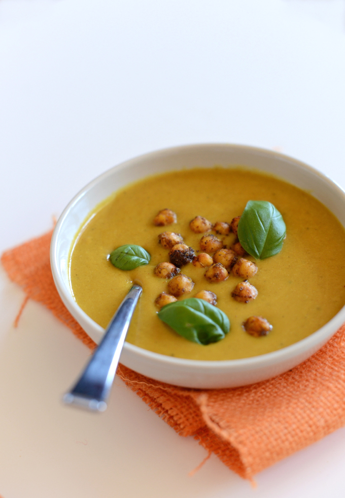 Sweet Potato Coconut Curry Soup with Spiced Chickpeas
