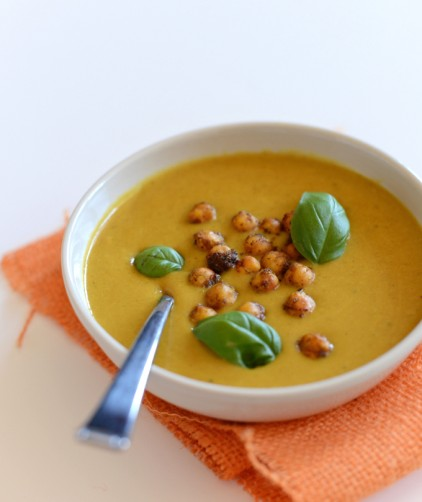 Bowl filled with Sweet Potato Coconut Curry Soup with Spiced Chickpeas for a wintertime vegan meal