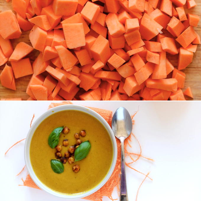 Chopped sweet potatoes and bowl of soup made with them