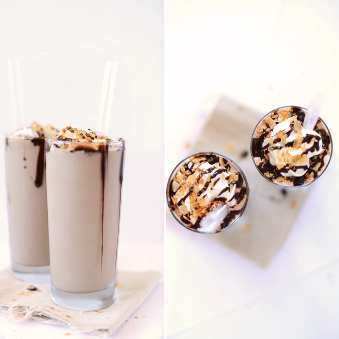 Side view and top view of two tall glasses of our Toasted Coconut Mocha Frappuccino