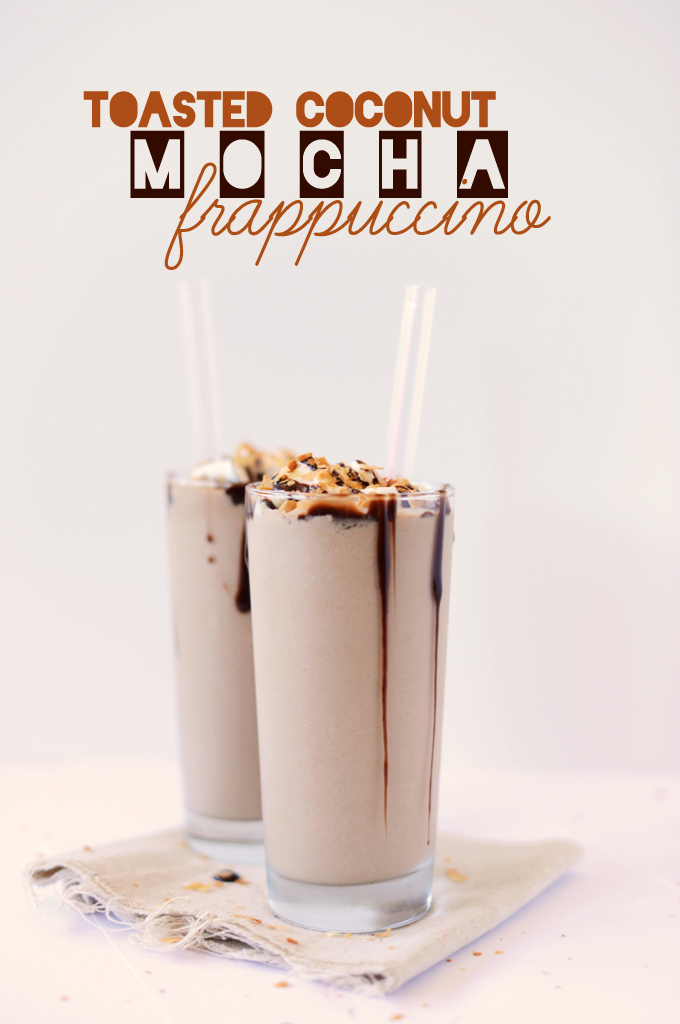 Two tall homemade Toasted Coconut Mocha Frappuccinos