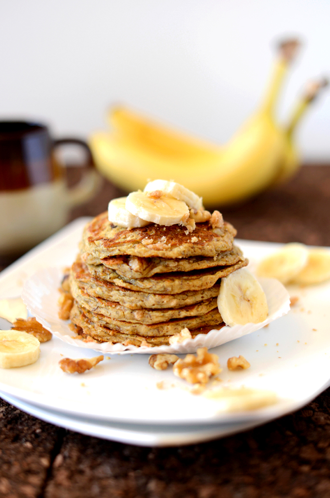 Tall stack of our Vegan Banana Nut Muffin Pancakes recipe