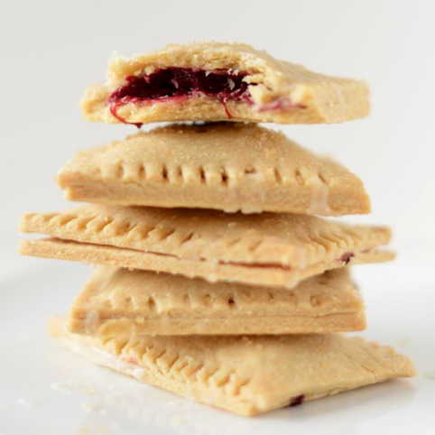 Stack of delicious Vegan Pop Tarts with a berry filling