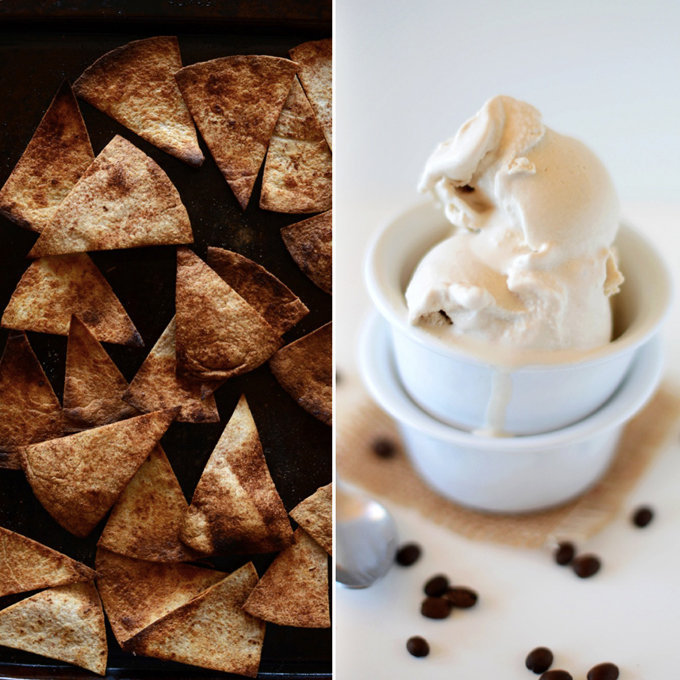 Batch of Vegan Dessert Nachos and bowl with Coconut Coffee Ice Cream