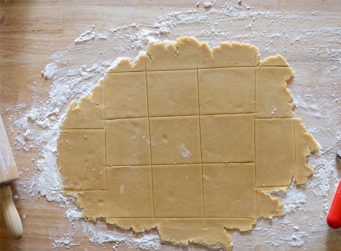 Homemade Pop Tart dough rolled out on a cutting board