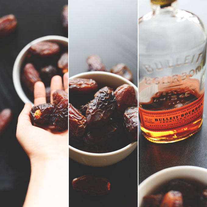 Soaking dates in bourbon to make Boozy Pecan Pie Bars