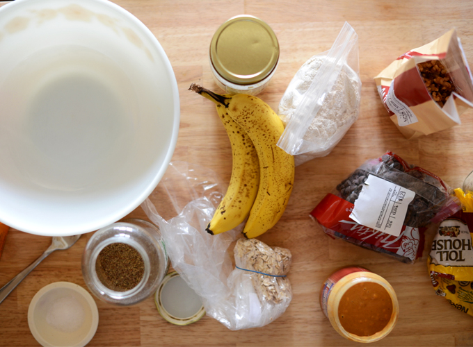 Ingredients scattered on a counter for making GF Vegan Breakfast Cookies