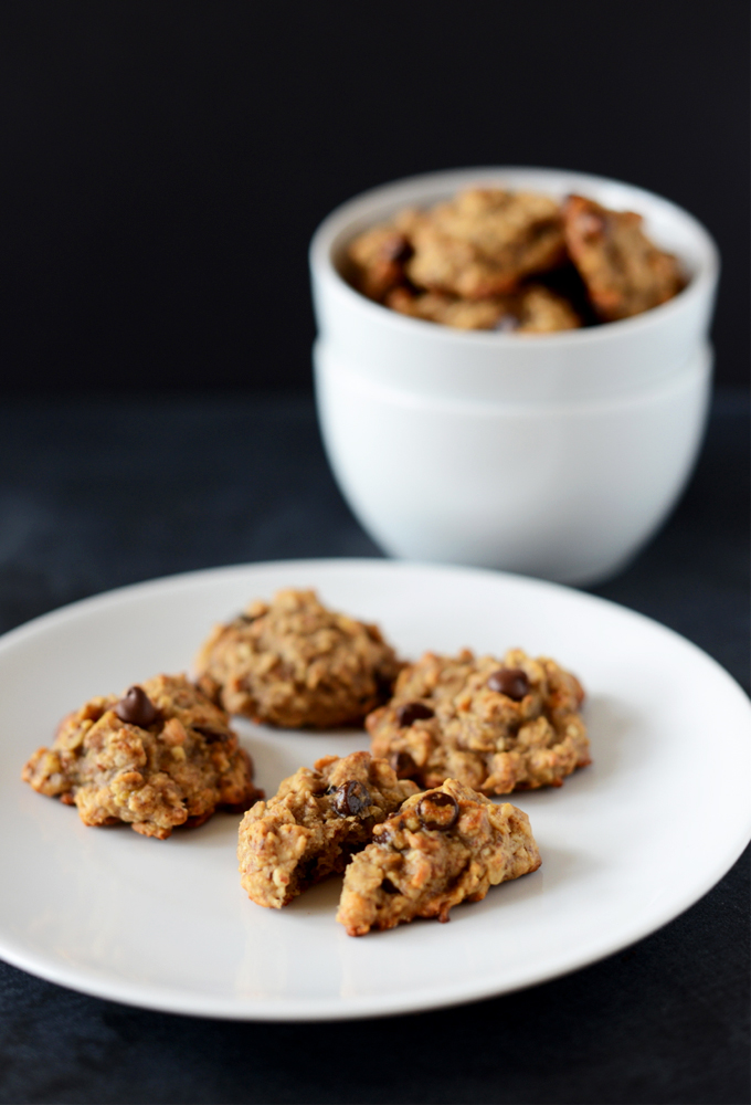 Plate and bowl with a batch of our Gluten-Free Chocolate Chip Breakfast Cookies recipe