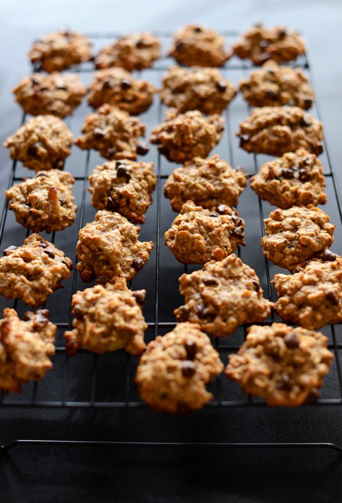 Batch of Gluten-Free Vegan Breakfast Cookies on a baking sheet