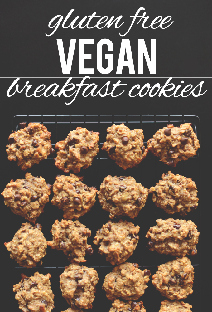 Batch of our healthy gluten-free vegan breakfast cookies on a cooling rack
