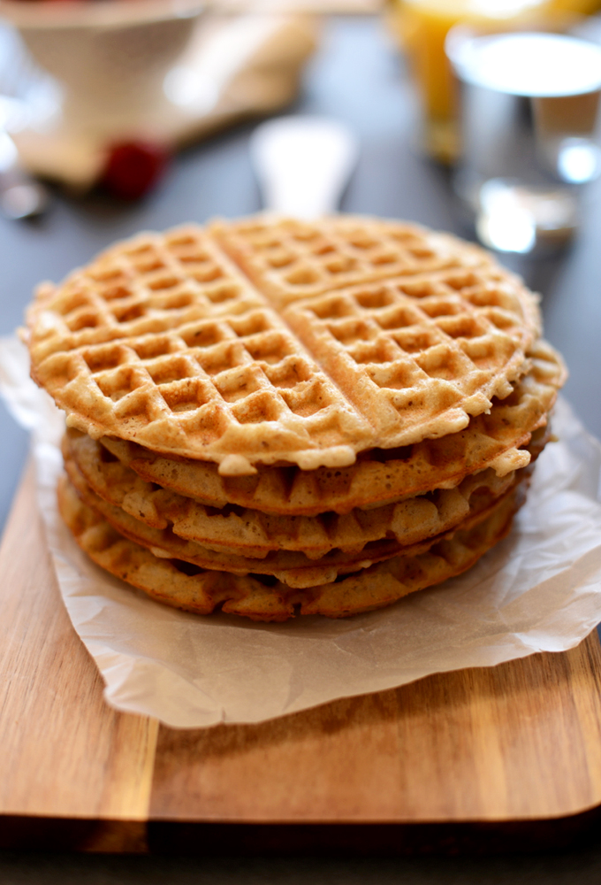 Stack of our delicious Gluten-Free Vegan Waffles recipe