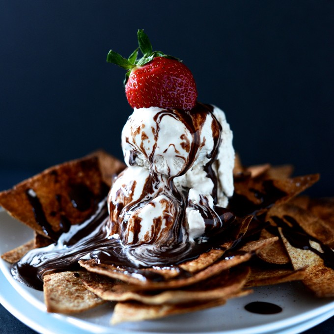 Plate of heavenly Vegan Dessert Nachos topped with Coffee Ice Cream