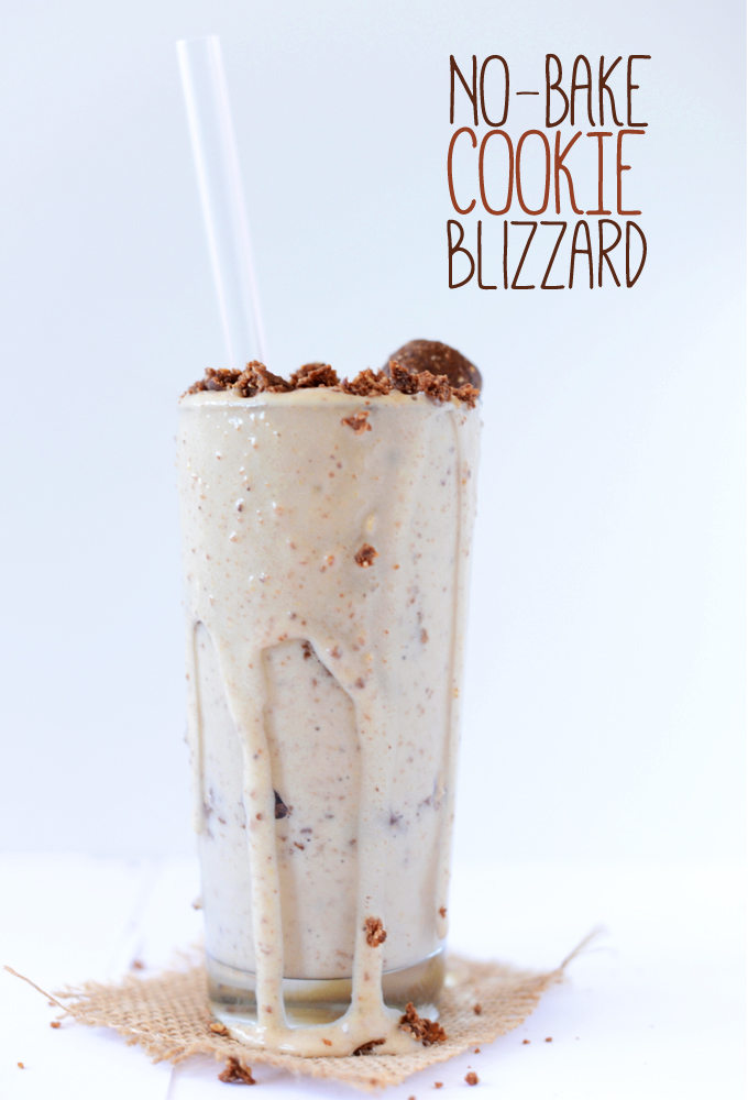 No-Bake Cookie Dough Blizzard overflowing from a tall glass