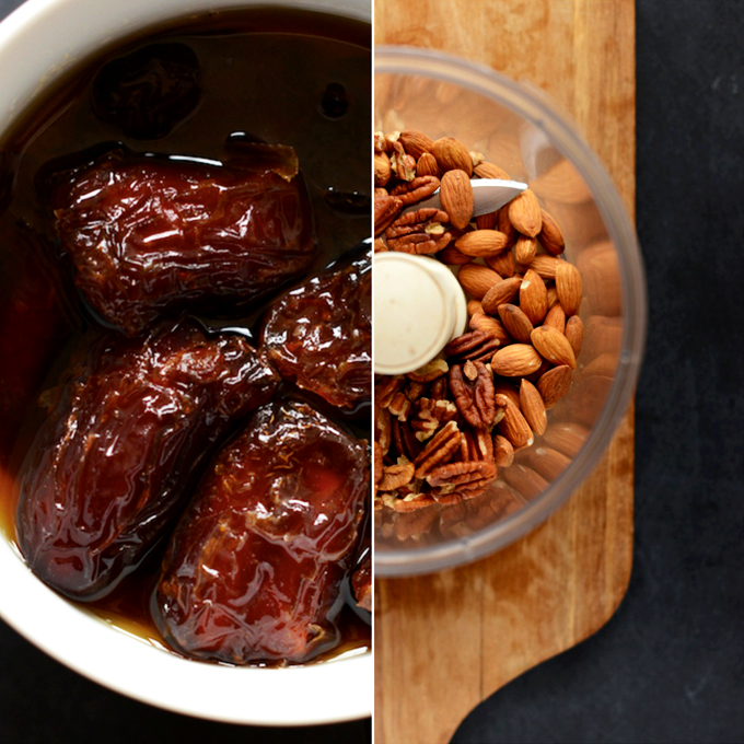 Bowl of dates and food processor of nuts for making Boozy Pecan Pie Bars