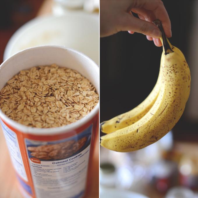 Oats and bananas for making GF Vegan Breakfast Cookies