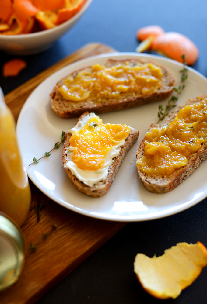 Plate with slices of toast covered with our delicious Orange Thyme Jam recipe