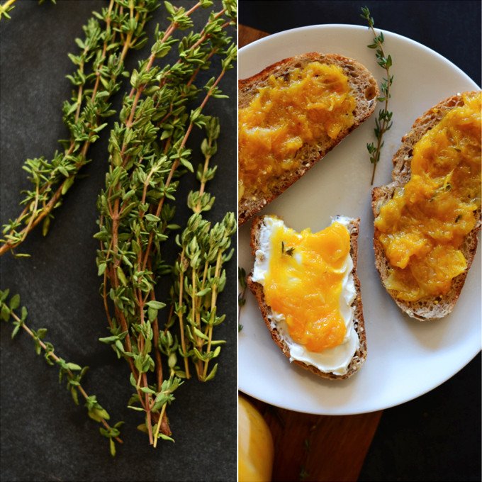 Fresh thyme leaves and slices of toast with Orange Thyme Jam