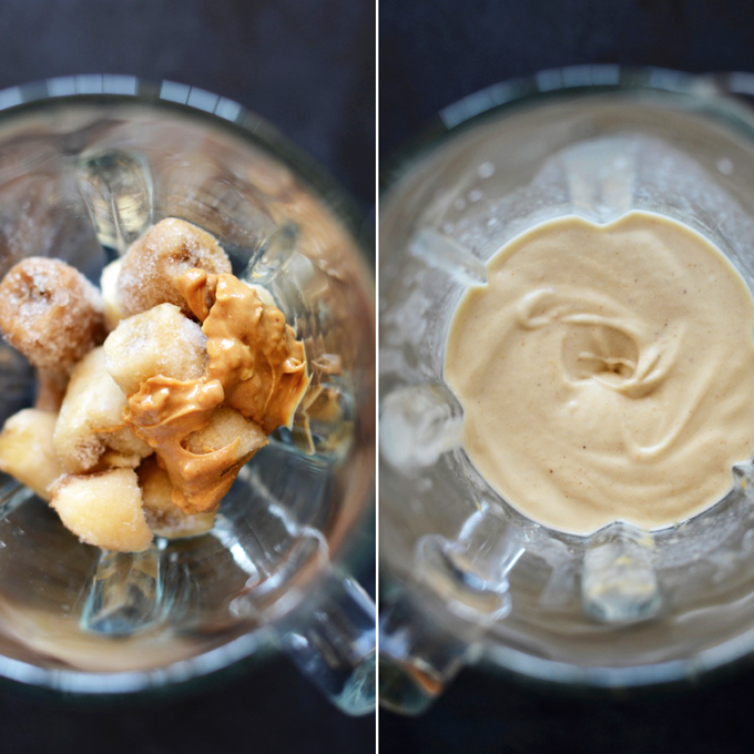 Blender filled with our Peanut Butter Banana Blizzard recipe