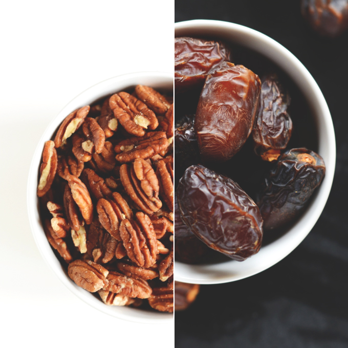 Bowls of pecans and dates for making Boozy Dessert Bars