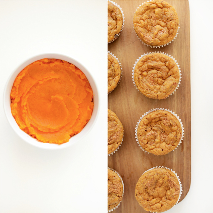 Bowl of sweet potato puree and cutting board with Almond Butter Muffins